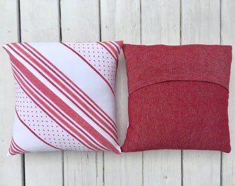 Custom Vintage Fabric Pillow 16 inch/ 40 cm square -- Red and White Strip with Right Polka Dot Corner