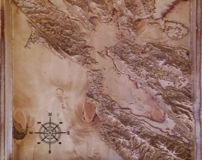 "3d wood map of San Francisco bay 16"" x 16"""