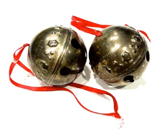 VINTAGE: 2 Sleigh Bell Ornaments - Silver Plated Bells - Christmas Decor - (8-A5-00006806)