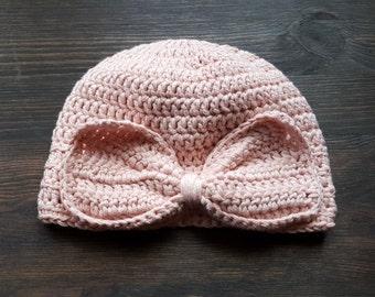 Organic cotton baby hat. Baby bow hat. Baby beanie. Pink Baby hat. Newborn baby hat