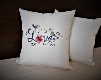 Hand made pillow with case 35 x35 cm ''Love''