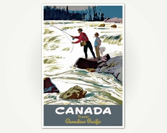 Vintage Canada Travel Poster Print - Mid-Century Fishing Poster Art - Canadian Pacific Fly Fishing Poster