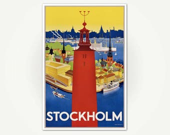 Stockholm Sweden Travel Poster Print - Vintage Swedish Poster Art