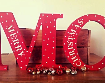 Merry Christmas, Happy Christmas, Christmas Letters, Christmas Decoration, Engraved Letters, Painted Letters, Handpainted, Freestanding
