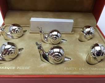 French Vintage Saint Hilaire Escargot Place Card Set. Set of 6 Silver Plated Snail Card Holders. Table Decor. Hostess Gift. Bridal Gift.