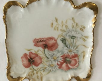 Antique Limoges Poppy & Daisy Flower Dresser Tray