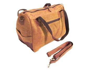 Hemp Bag Organic Handbag Natural Leather Bag Eco-friendly Crossbody Shoulder Bronze