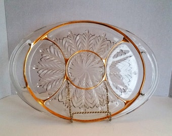Vintage Heavy Gold Trimmed, Clear Glass Divided Serving Tray with Handles,Table Ware,Party Ware
