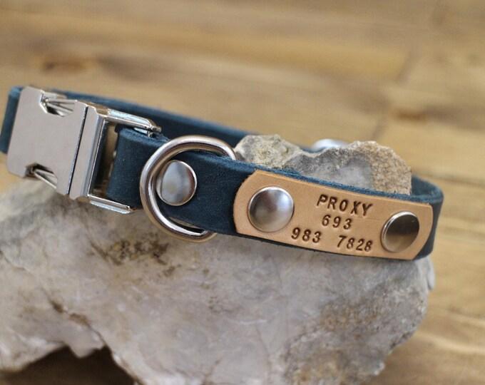 Dog collar, Clip collar, FREE ID TAG, Leather clasp collar, Handmade dog collar, Gift, Buckle collar, Medium size collar, Cayenne collar.