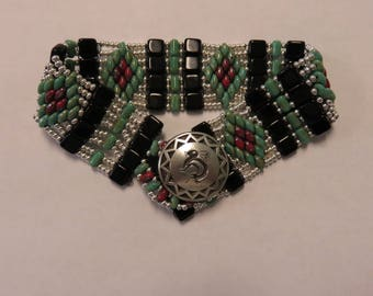 Silver, Black, Turquoise & Red Picasso Handstitched Seed Bead Bracelet with Petroglyph Button