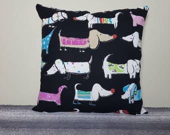 "Dachshund style dog print cushion cover, dog pillow, 18"" pillow, dog cushion, dachshund dog, sausage dog print,"