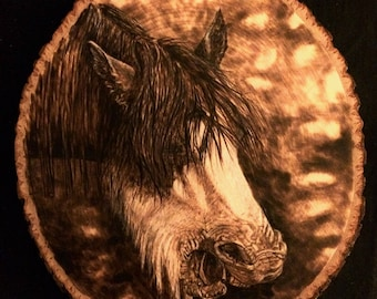 Handmade Wood Burning of a Yawning Clydesdale Horse