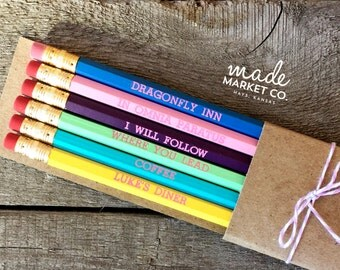 Gilmore Girls Pencil Set, Rory Luke's Dragonfly Inn, Foiled Engraved Pencils, Christmas Gift, Stocking Stuffer, Office Supplies, Coffee