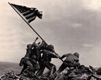Print, Battle of Iwo Jima, 1945, WWII, U.S. Marines, War, American Flag