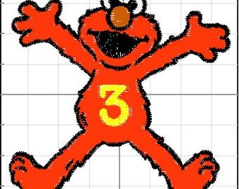 Embrodiery Design - Elmo turns three - 4 x 4 Hoop size - can add in any number