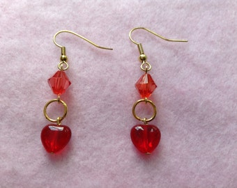 Rose Gold Plated Red Heart Earrings.