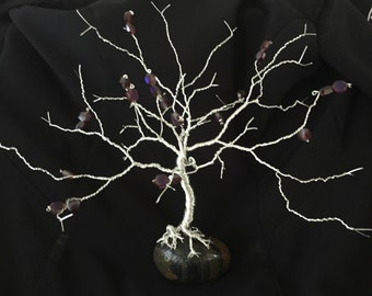 Large hand twisted silver copper wire oak tree sculpture with purple blue glass beads
