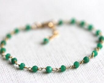 Green Jade Bracelet, Tiny Gemstones, Gold Filled, Gold Vermeil
