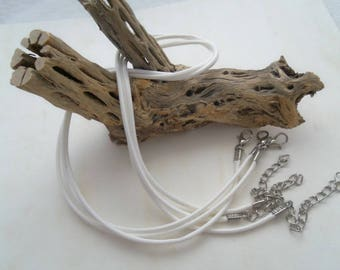Bright White - 17 inch Waxed Cotton Neck Cord, Pack of 3  (1190)