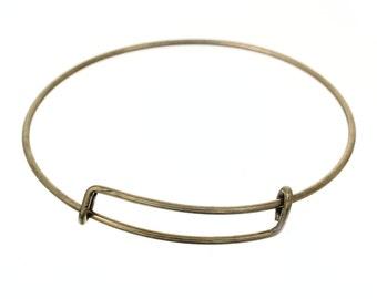 2 Antique Bronze Tone Copper Expandable Charm Bangle Bracelets 22cm (B103b)