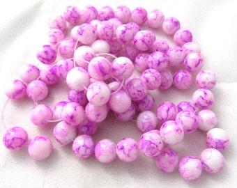 1 Strand 10mm Mottled Glass Round Beads Fuchsia/White (B147a2)
