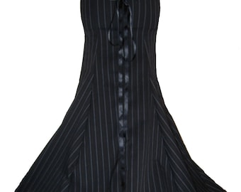 BLACK GOTHIC FISHTAIL skirt, long pinstripe steampunk skirt, corset skirt, victorian skirt, full length, made to measure, any size 8 -34