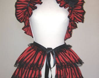 GOTHIC SHRUG and BUSTLE skirt, steampunk bustle and shrug, red black 2 part set, pirate shrug, tie on bustle, free rose brooch, burlesque