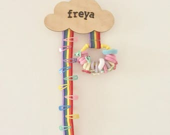 Personalised Rainbow Hair Clip Hanger// Hair Accesory Tidy // Hair Bow Tidy // Girls Room Decor // Personalised Hair Accessories