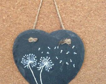 Hanging Slate Heart Dandelion Wishes