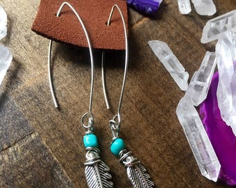 Wire wrapped feather and turquoise earrings