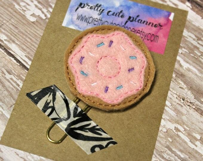 Planner Clip - Planner Bookmark - Donut Planner Planner clip - Pink donut planner clip- Felt Planner Clip - Felt Bookmark - Feltie clip