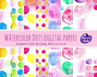 Watercolor Dots Digital Paper Clip Art. Set of 8 JPG watercolor backgrounds / digital papers. Printable. Instant download, 300 dpi