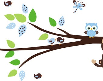 Monkey and Branch Decal - Nursery Wall Decal - Wall Stickers for Kids Room - Bird Decal - Owl Decal - Dragonfly Decal - Monkey Decal - Decor