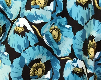 Teal Blue Poppies on Black Background