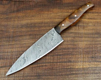 Handmade Damascus Chef Knife with Walnut Wood Scales 12""