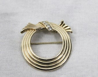 1970s Vintage Circle Brooch with Diamonds