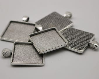 5 Pcs of SQUARE Antique Silver Bezel - for 25mmX25mm GLASS Magnifying Domes Cabochon - Pendant Blank Bezel . for Cabochon, Photo Jewelry