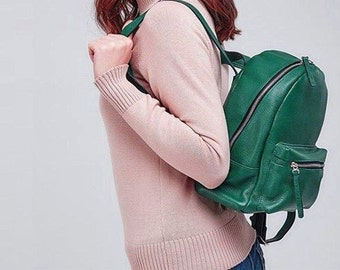 Leather rucksack, leather backpack, leather backpack purse, leather bag, leather backpack women, vintage backpack