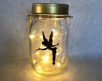 Hand painted Tinkerbell fairy jar