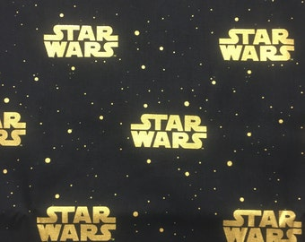 "Star Wars gold words on black fabric, By the Half Yard, 44"" wide, 100% cotton, star wars fabric, licensed fabric, star wars logo fabric"