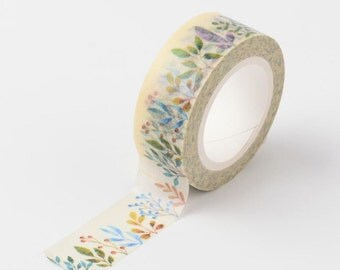 Ferns & Foliage Washi Tape 15mm x 10m  Botanical Blooms, floral, wild flowers theme