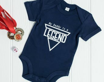 Legendary Dad baby grow - baby gift idea for new dad - 1st Father's Day or birthday baby onesie from baby boy - Daddy is a legend Baby vest