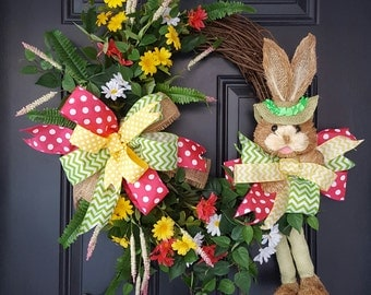 Easter straw bunny grapevine wreath Easter decor Easter bunny decoration Easter door wreath