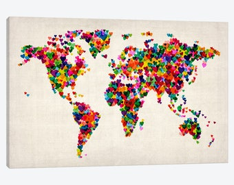 World map wall art etsy world map wall art map of the world art print abstract world map hearts gumiabroncs Gallery