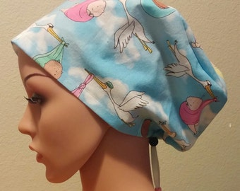 Women's Surgical Cap, Scrub Hat, Chemo Cap, Special Delivery