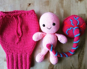 Crochet baby, umbilical cord, placenta and uterus. Teaching aid. Midwife. Doula. Made to order.