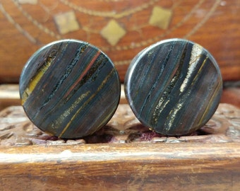 25mm (1 Inch) Tigeriron Stone Plugs. 14mm wearable surface.