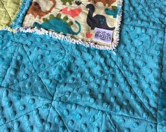 Dinosaur Baby rag quilt with Minky backing