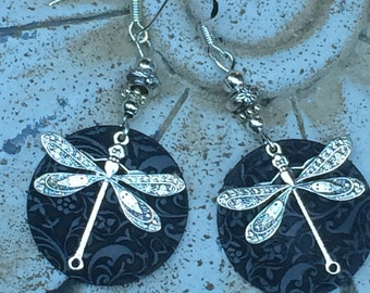 Dragonfly earrings, dragonfly jewelry, unique, silver dragonfly
