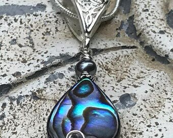 Abalone pendant, abalone necklace, abalone shell, wire wrapped, lightweight, seashell, abalone jewelry, Mothers Day gift